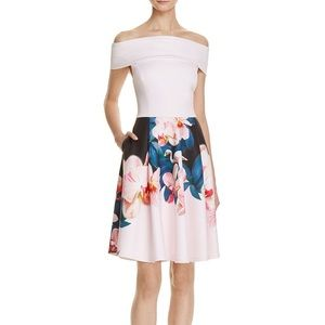 Ted Baker Off Shoulder Neoprene Flamingo Dress